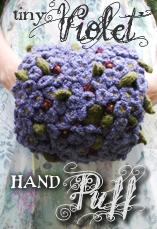tiny violet hand puff tiny owl knits