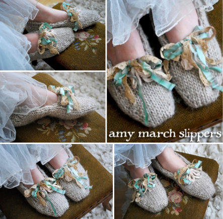 amy march slippers - tiny owl knits